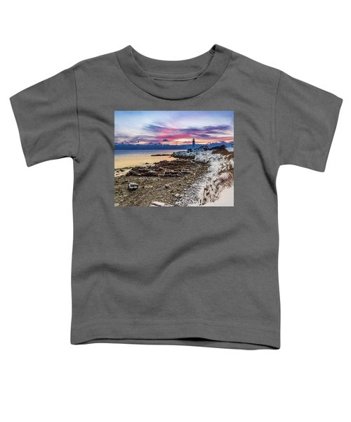 Subtle Sunrise At Portland Head Light Toddler T-Shirt