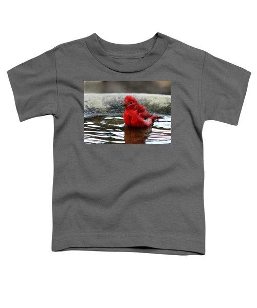 Summer Tanager In Bird Bath Toddler T-Shirt