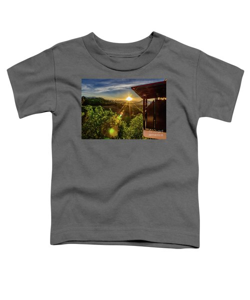 Sunburst View From Dellas Boutique Hotel Near Meteora In Kastraki, Kalambaka, Greece Toddler T-Shirt