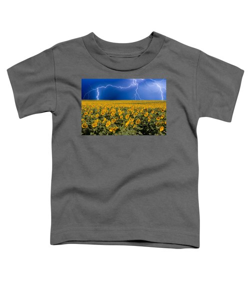Sunflower Lightning Field  Toddler T-Shirt by James BO  Insogna