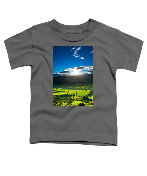 Sunrays Flood Farmland During Sunset Toddler T-Shirt