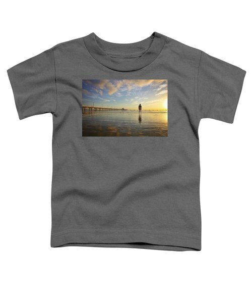Sunrise Silhouette Down By The Pier. Toddler T-Shirt
