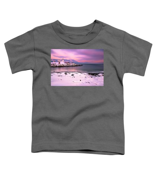 Sunset At Nubble Lighthouse In Maine In Winter Snow Toddler T-Shirt