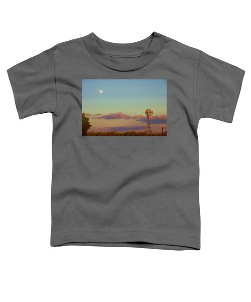 Sunset Moonrise With Windmill  Toddler T-Shirt