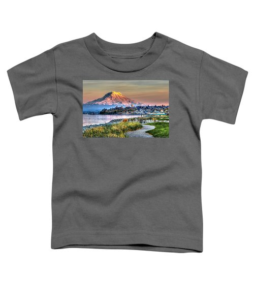 Sunset On Mt Rainier And Point Ruston Toddler T-Shirt