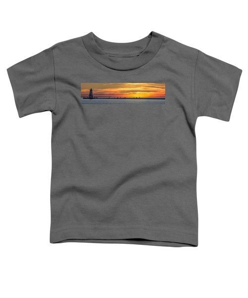 Toddler T-Shirt featuring the photograph Sunset Over Ludington Panoramic by Adam Romanowicz