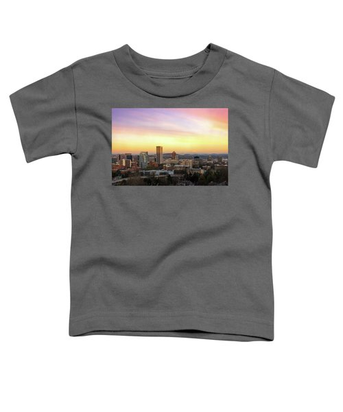 Sunset Over Portland Cityscape And Mt Hood Toddler T-Shirt