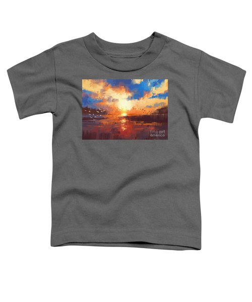 Toddler T-Shirt featuring the painting Sunset by Tithi Luadthong