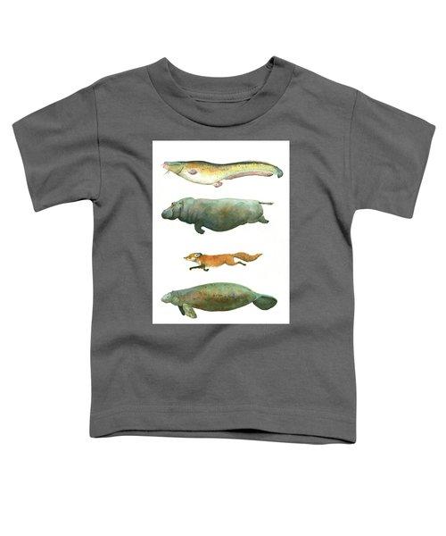 Swimming Animals Toddler T-Shirt by Juan Bosco