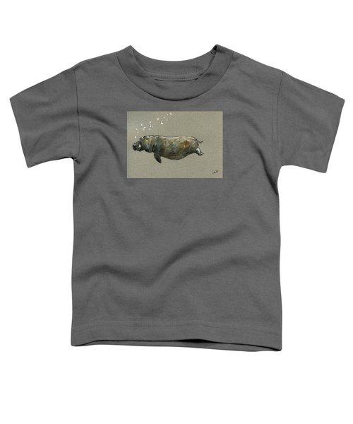 Swimming Hippo Toddler T-Shirt by Juan  Bosco