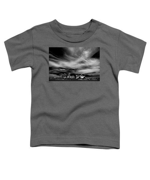 Sydney Skyline With Dramatic Sky Toddler T-Shirt by Avalon Fine Art Photography