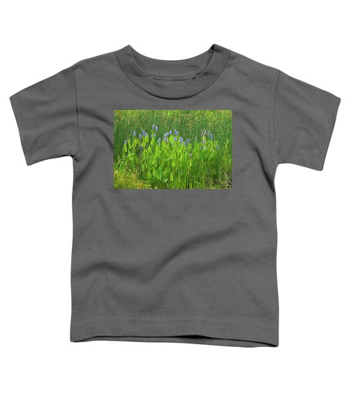 Tall Purple And Blue Blooming Flowers Toddler T-Shirt