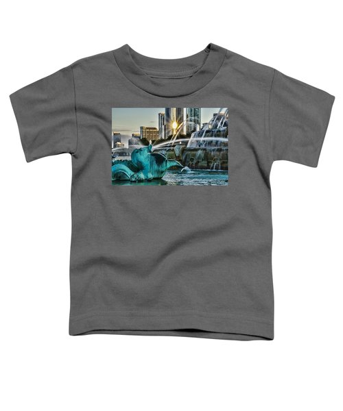 telephoto look at Chicago's Buckingham Fountain  Toddler T-Shirt