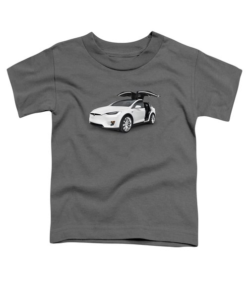 Tesla Model X Luxury Suv Electric Car With Open Falcon-wing Doors Art Photo Print Toddler T-Shirt by Oleksiy Maksymenko