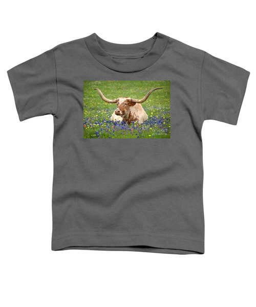 Texas Longhorn In Bluebonnets Toddler T-Shirt