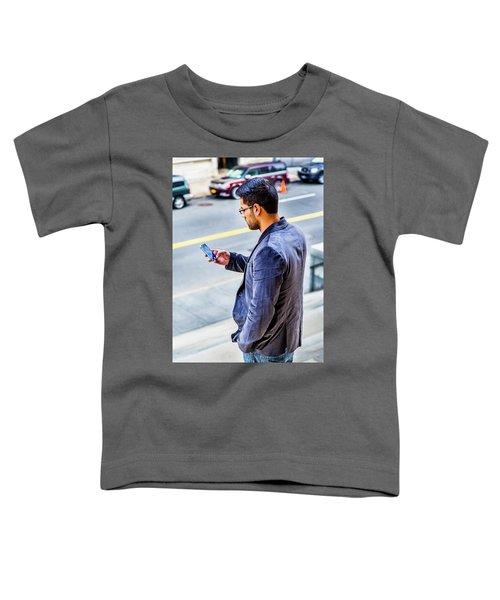 Man Texting Toddler T-Shirt