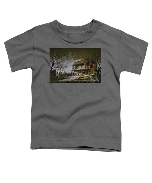 Toddler T-Shirt featuring the painting The Abandoned House by Tithi Luadthong