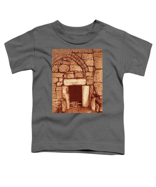 Toddler T-Shirt featuring the painting The Door Of Humility At The Church Of The Nativity Bethlehem by Georgeta Blanaru