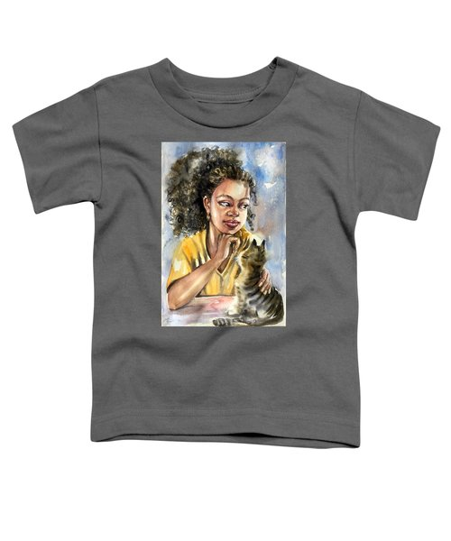 The Girl With A Cat Toddler T-Shirt