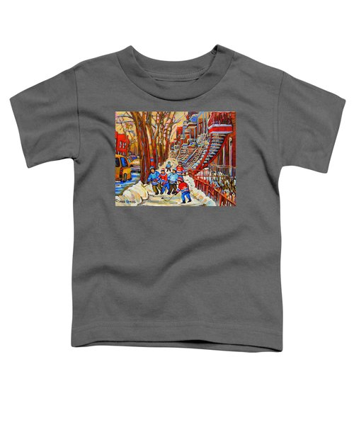 The Red Staircase Painting By Montreal Streetscene Artist Carole Spandau Toddler T-Shirt