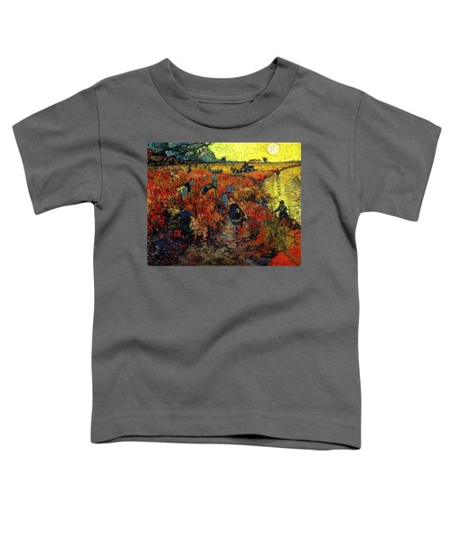 Toddler T-Shirt featuring the painting The Red Vineyard At Arles by Van Gogh