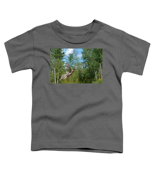 The Ring-necked Pheasant In Take-off Flight Toddler T-Shirt