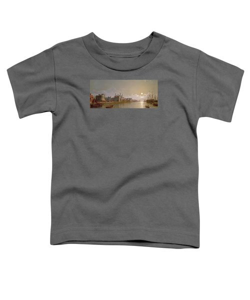 The Thames By Moonlight With Traitors' Gate And The Tower Of London Toddler T-Shirt by Henry Pether