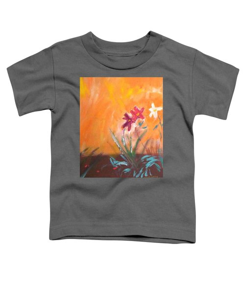 Toddler T-Shirt featuring the painting The Three Daisies by Winsome Gunning