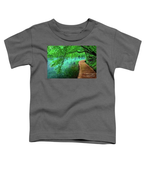 Tree Hanging Over Turquoise Lakes, Plitvice Lakes National Park, Croatia Toddler T-Shirt