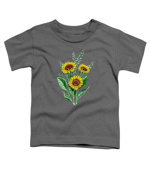 Three Playful Sunflowers Toddler T-Shirt