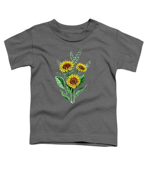 Three Playful Sunflowers Toddler T-Shirt