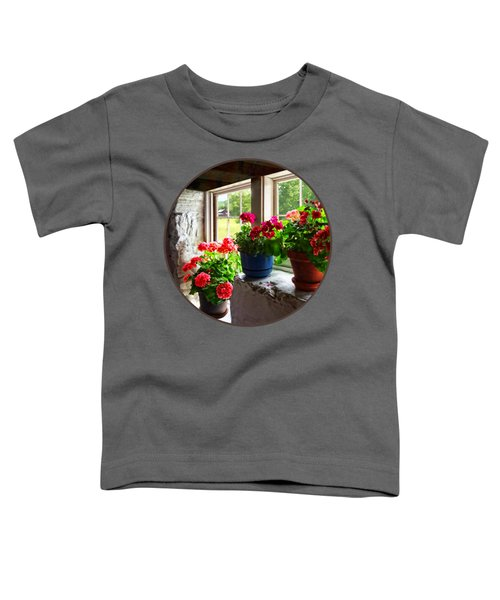 Three Pots Of Geraniums On Windowsill Toddler T-Shirt