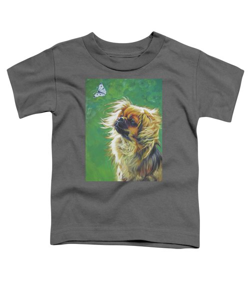 Tibetan Spaniel And Cabbage White Butterfly Toddler T-Shirt by Lee Ann Shepard