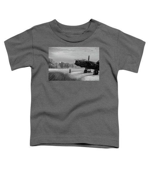 Toddler T-Shirt featuring the photograph Time To Go - Lancasters On Dispersal Bw Version by Gary Eason