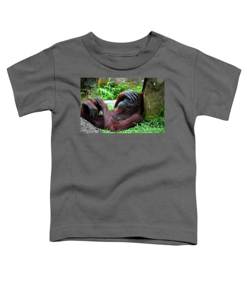 Tired Female Orangutan Ape Rests Against Tree With Hand On Her Head Toddler T-Shirt