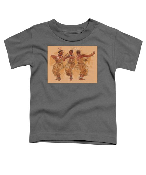 Toddler T-Shirt featuring the painting Tonga Dance From Niuafo'ou by Judith Kunzle