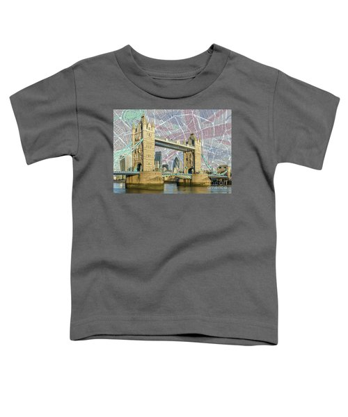 Toddler T-Shirt featuring the digital art Tower Bridge With Union Jack by Adam Spencer