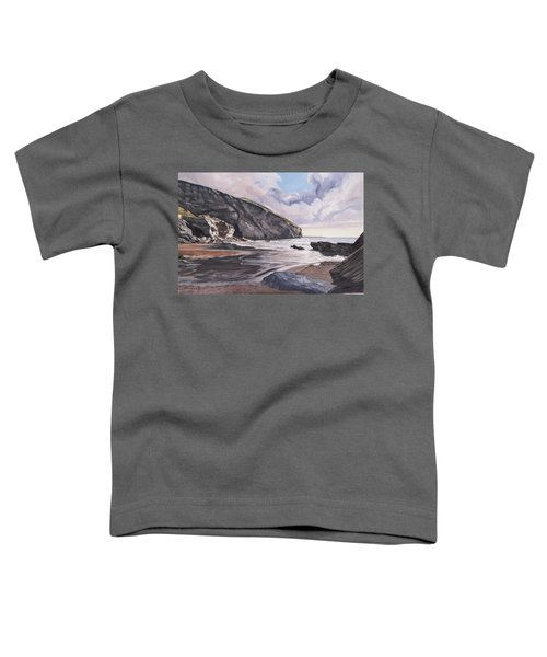 Toddler T-Shirt featuring the painting Trebarwith Strand by Lawrence Dyer