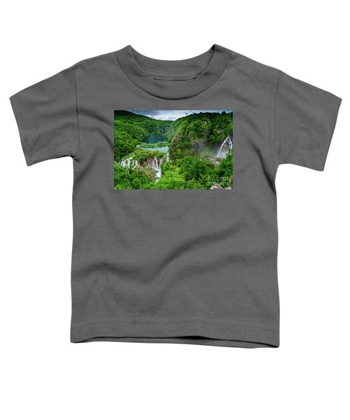 Turquoise Lakes And Waterfalls - A Dramatic View, Plitivice Lakes National Park Croatia Toddler T-Shirt