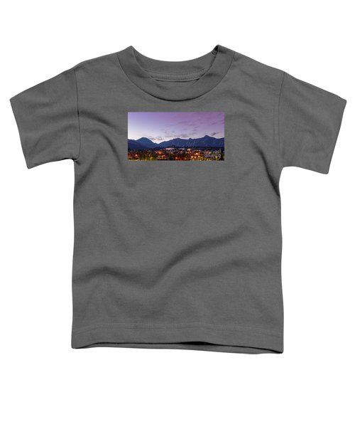 Twilight Panorama Of Estes Park, Stanley Hotel, Castle Mountain And Lumpy Ridge - Rocky Mountains  Toddler T-Shirt