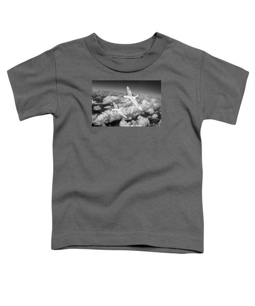 Toddler T-Shirt featuring the photograph Two Avro Vulcan B1 Nuclear Bombers Bw Version by Gary Eason