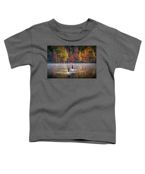 Two Canadian Geese Swimming In Autumn Toddler T-Shirt