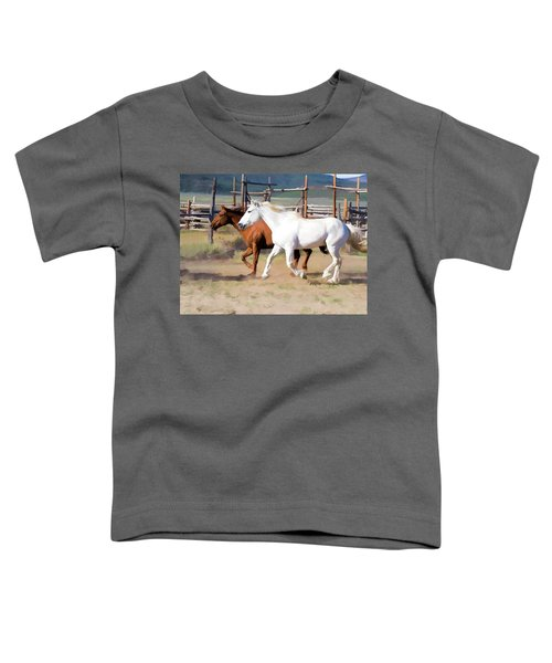 Two Ranch Horses Galloping Into The Corrals Toddler T-Shirt