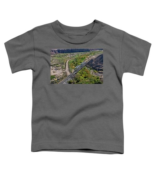Toddler T-Shirt featuring the photograph Up Tracks Cross The Mojave River by Jim Thompson
