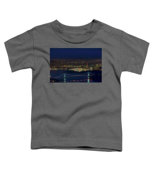 Vancouver Bc Cityscape By Lions Gate Bridge Toddler T-Shirt