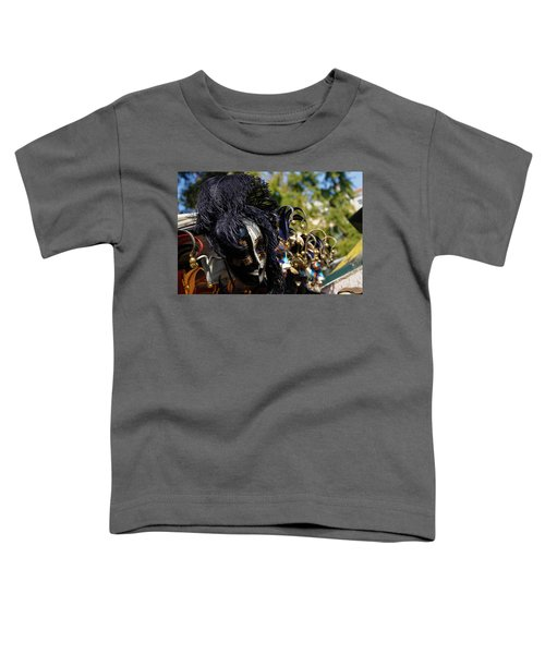 Venice Italy - Black And White Fantasy Mask With Feathers Toddler T-Shirt