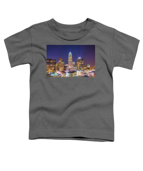 View Of Charlotte Skyline Aerial At Sunset Toddler T-Shirt