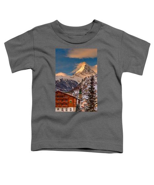 Village Of Zermatt With Matterhorn Toddler T-Shirt