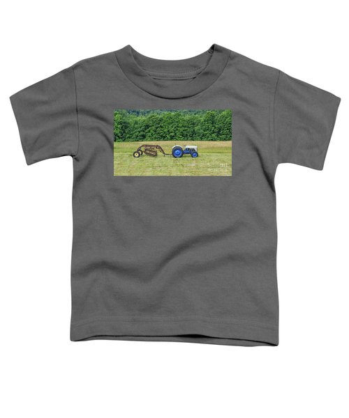 Vintage Ford Blue And White Tractor On A Farm Toddler T-Shirt