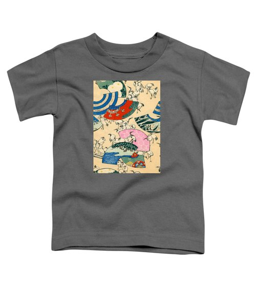 Vintage Japanese Illustration Of Fans And Cranes Toddler T-Shirt by Japanese School
